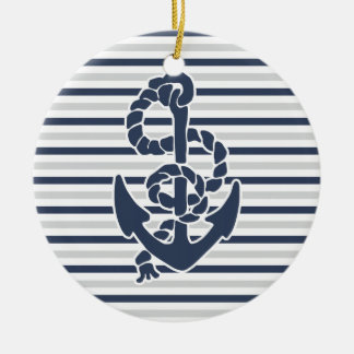 Blue Anchor White Grey Stripes Ceramic Ornament