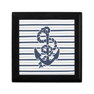 Blue Anchor White Grey Stripes Gift Box