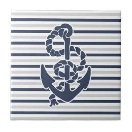 Blue Anchor White Grey Stripes Tile