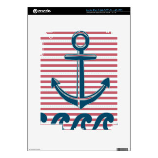 Blue anchor,white & red stripes,trendy,girly,chic iPad 3 skin