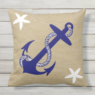 "Blue Anchor & White Starfish Nautical ""Burlap"" Outdoor Pillow"