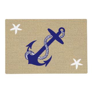Blue Anchor & White Starfish Nautical Burlap Syn. Placemat