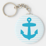 Blue Anchor with Light Blue Breton Stripes Key Chains