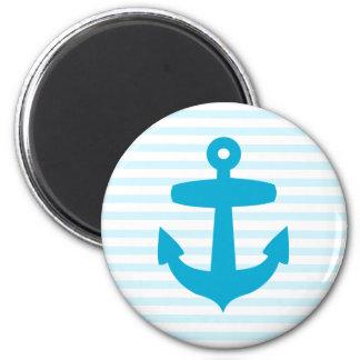 Blue Anchor with Light Blue Breton Stripes Magnet