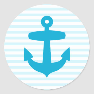 Blue Anchor with Light Blue Sailor Stripes Classic Round Sticker