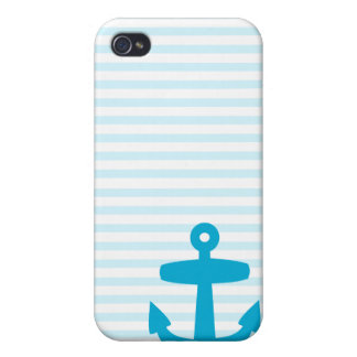 Blue Anchor with Pale Blue Breton Stripes iPhone 4/4S Cases