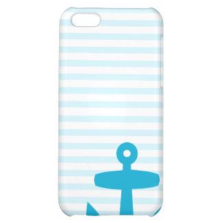Blue Anchor with Pale Blue Breton Stripes iPhone 5C Case