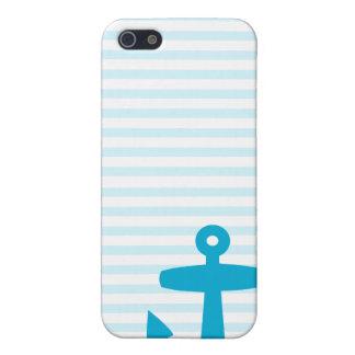 Blue Anchor with Pale Blue Breton Stripes iPhone SE/5/5s Case