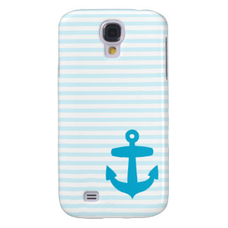Blue Anchor with Pale Blue Breton Stripes Samsung Galaxy S4 Case