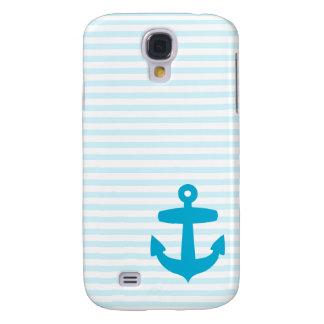 Blue Anchor with Pale Blue Breton Stripes Samsung Galaxy S4 Case