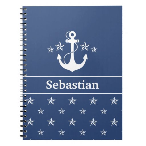 Blue Anchor with Stars Notebook