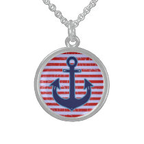 blue anchor with stripes sterling silver necklace