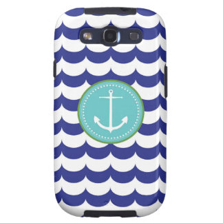 Blue Anchor with Waves Pattern Galaxy S3 Case