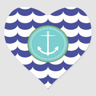 Blue Anchor with Waves Pattern Heart Sticker