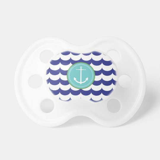 Blue Anchor With Waves Pattern Pacifier Zazzle Com
