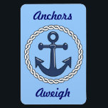 "Blue Anchors Aweigh Stateroom Door Marker Magnet<br><div class=""desc"">Anchors Aweigh! Stateroom Door Marker for the door of the cabin on your next cruise. Cruise Ships keep getting bigger and bigger. The hallways with longer and longer rows of cabin doors that all look alike.! Mark YOUR stateroom door with a Stateroom Door Marker, and spot it easily! While any...</div>"