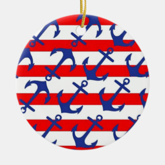 Blue Anchors On Red Stripes Ceramic Ornament