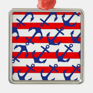 Blue Anchors On Red Stripes Metal Ornament