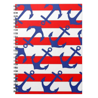 Blue Anchors On Red Stripes Notebook