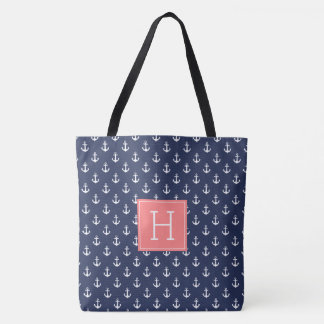 Blue Anchors Pattern and Coral Monogram Tote Bag