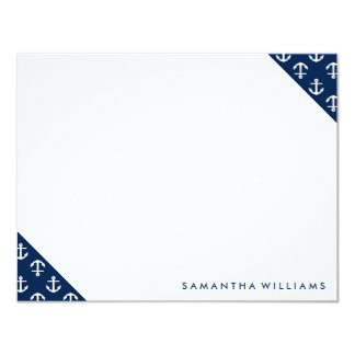 """Blue Anchors Pattern Custom Note Cards 4.25"""" X 5.5"""" Invitation Card"""
