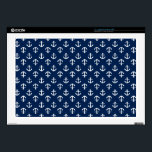"Blue Anchors Pattern Laptop Decal<br><div class=""desc"">Stylish and modern design features a preppy nautical seamless pattern.</div>"