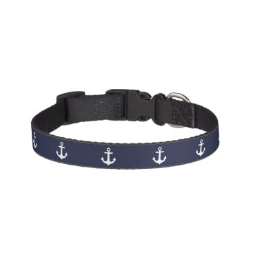 Beach Themed Blue Anchors Pattern Pet Collar