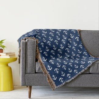 Blue Anchors Pattern Throw Blanket