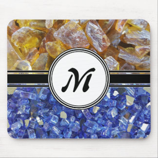 Blue and Amber Crystals Monogram Mouse Pad