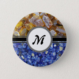 Blue and Amber Crystals Monogram Pinback Button