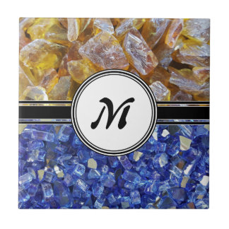 Blue and Amber Crystals Monogram Tile