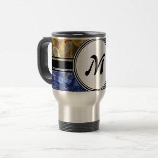 Blue and Amber Crystals Monogram Travel Mug
