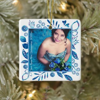 Blue and Aqua Floral Quinceanera Ornament