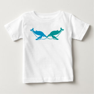 blue and aqua  kissing WHALES t shirt