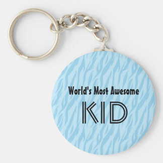 Blue and Aqua Zebra Print World's Most Awesome Kid Keychain