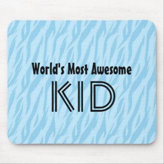 Blue and Aqua Zebra Print World's Most Awesome Kid Mouse Pad