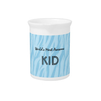 Blue and Aqua Zebra Print World's Most Awesome Kid Pitcher