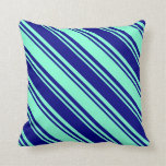 [ Thumbnail: Blue and Aquamarine Striped/Lined Pattern Pillow ]