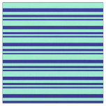 [ Thumbnail: Blue and Aquamarine Stripes/Lines Pattern Fabric ]