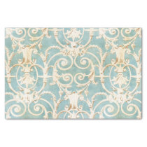 Blue and Beige Damask Tissue Paper