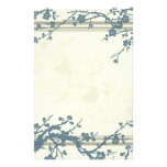 Blue and Beige Flowering Tree Stationery