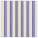 [ Thumbnail: Blue and Beige Lined Pattern Fabric ]