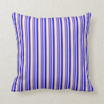 [ Thumbnail: Blue and Beige Lined/Striped Pattern Throw Pillow ]