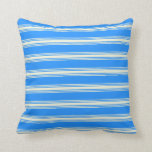 [ Thumbnail: Blue and Beige Pattern Throw Pillow ]