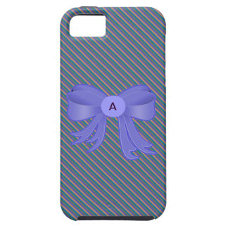 Blue and Beige Striped Monogram Iphone 5 Case
