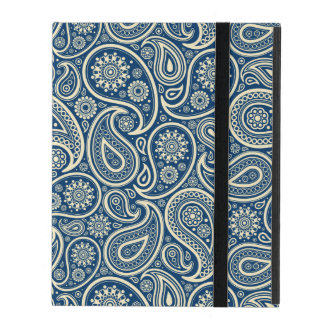 Blue And Beige Vintage Paisley Pattern iPad Cover