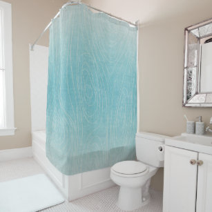 Blue And Beige Wood Grain Shower Curtain