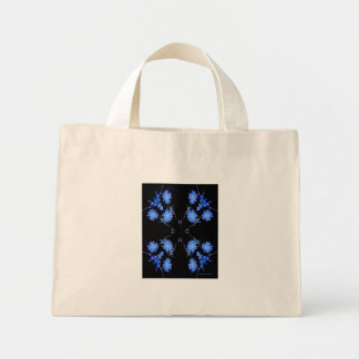 Blue and black 4 up repeat of wildflowers canvas bags