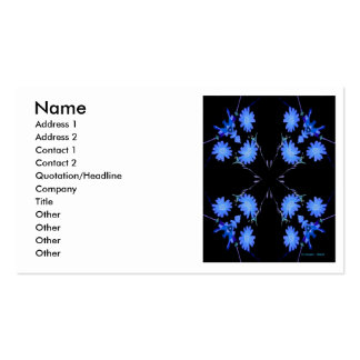 Blue and black 4 up repeat of wildflowers business card