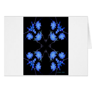 Blue and black 4 up repeat of wildflowers greeting cards